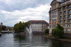 Water canal in Strasbourg. France royalty free stock photos