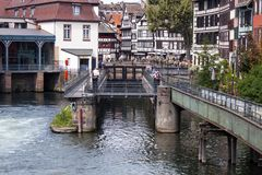 Water canal in Strasbourg. France stock photo