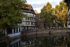 Water canal in Strasbourg. France royalty free stock photo