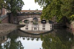 Water canal in Strasbourg. France royalty free stock images