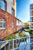 Water Canal in the Town Center of Saarburg Royalty Free Stock Photos