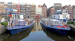Water canal and typical architecture in Amsterdam, Netherlands Stock Photo