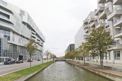 Water canal in the Orestad area, Copenhagen Royalty Free Stock Image
