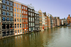 Water canals in Amsterdam, Netherlands Royalty Free Stock Image