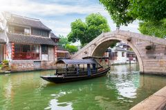 Water Canals And Gondolas In The Ancient Watertown Of Tongli, China Stock Image