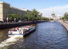 Water canals of St. Petersburg in a sunny day royalty free stock photography
