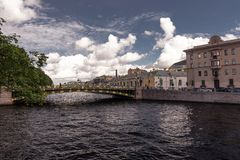 Water canals in st petersburg stock image