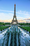 Water cannons of Gardens of Trocadero and Eiffel Tower with the EU stars, Paris, France Royalty Free Stock Photos