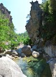 Water canyon in Corsica. France , Europe Royalty Free Stock Images