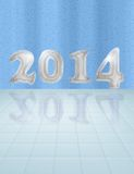 Water 2014 card. Happy new year 2014 card from iced numbers in wet room Royalty Free Stock Image