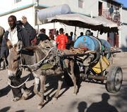 Water carrier on the street Hargeisa Stock Photo