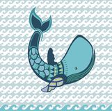 Water cartoon whale animal Royalty Free Stock Images