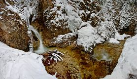Water cascade. Winter Water cascade with waterfalls Royalty Free Stock Images