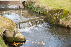Water cascade of a crrek in the meadows Royalty Free Stock Image