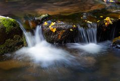 Water cascade among the rocks. Beautiful nature background with yellow leaves on wet stones Stock Images
