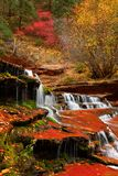Archangel Cascades during fall in the beautiful Subway slot Canyon at Zion National Park stock images