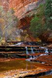 Archangel Cascades during fall in the beautiful Subway slot Canyon at Zion National Park stock photography