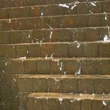 Water cascading down on bricks Royalty Free Stock Photo