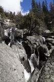 Water Cascading Down Over Granite Rocks Yosemite National Park Stock Image