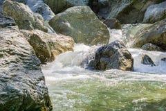 Water cascading through large rocks, Little Yosemite area, Sunol Regional Wilderness, San Francisco bay area, California stock image