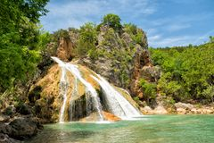 Free Water Cascading Over Rocks Into A Natural Pool At Turner Falls Royalty Free Stock Image - 158769426