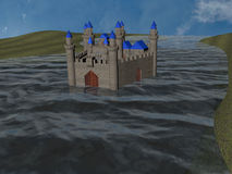 Water caslte. 3d-rendering of an Castle in a river Royalty Free Stock Photography