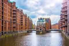 Water Castle in Hamburg`s Hafen City. Water castle building in hamburg hafen city germany Royalty Free Stock Photos