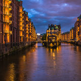 Water castle in old Speicherstadt or Warehouse district, Hamburg Royalty Free Stock Photography