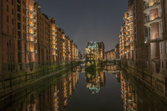 Water castle Speicherstadt, Hamburg. Water closed speicherstadt in hamburg at night Stock Images