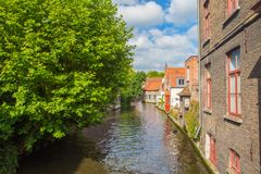 Water channel in Brugge Stock Images