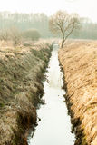 The water channel between the fields Royalty Free Stock Photography