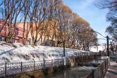 The water channel in park a spring sunny day Stock Photography