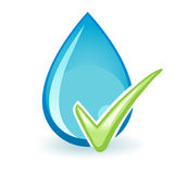 Water Check. A water drop with a green check mark Stock Image