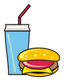 Water and cheeseburger Stock Images