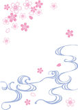 Water&cherry blossoms royalty free illustration