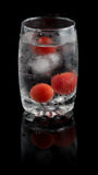 Water with Cherry tomatoes and ice  in a glass cup Royalty Free Stock Photo