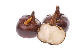 Water Chestnuts. Isolated macro image of water chestnuts stock image
