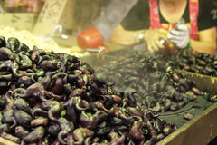 Water chestnuts at a street market. Water chestnuts at a traditional street market in Taipei, Taiwan royalty free stock images