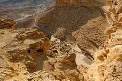 Deep gorge in Negev desert mountains stock image