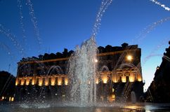 Water city show at dusk. Fountain water game at dusk in Turin, Italy Stock Photography