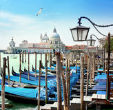 Water city, Venice. Venice is a beautiful water city in Italy. Many boats parking in the port Royalty Free Stock Photos