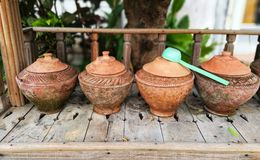 water in clay pot Stock Photos