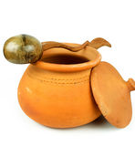 Water Clay pots and coconut shell ladle/Thai pottery Royalty Free Stock Photo