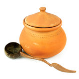 Water Clay pots and coconut shell ladle/Thai pottery Stock Image