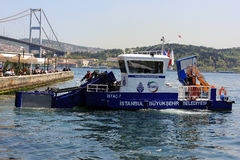 Water cleanning vehicle at Bosphorus, Istanbul, Turkey Stock Photography