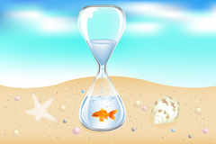 Water Clock On Seaside. Vector. Glass Water Clock With Goldfish On Seaside With Starfish, Shell And Pearls Royalty Free Stock Image