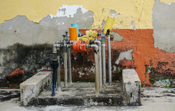 Water clocks on the street in George Town, Penang, Malaysia stock photo