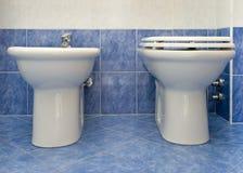 The water-closet and bidet stock image