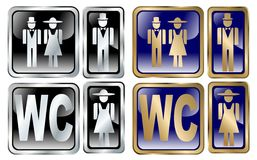 Water closet icons. Set royalty free illustration