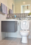 Water closet and lavatory with towel rail in modern style toilet. At home royalty free stock photos